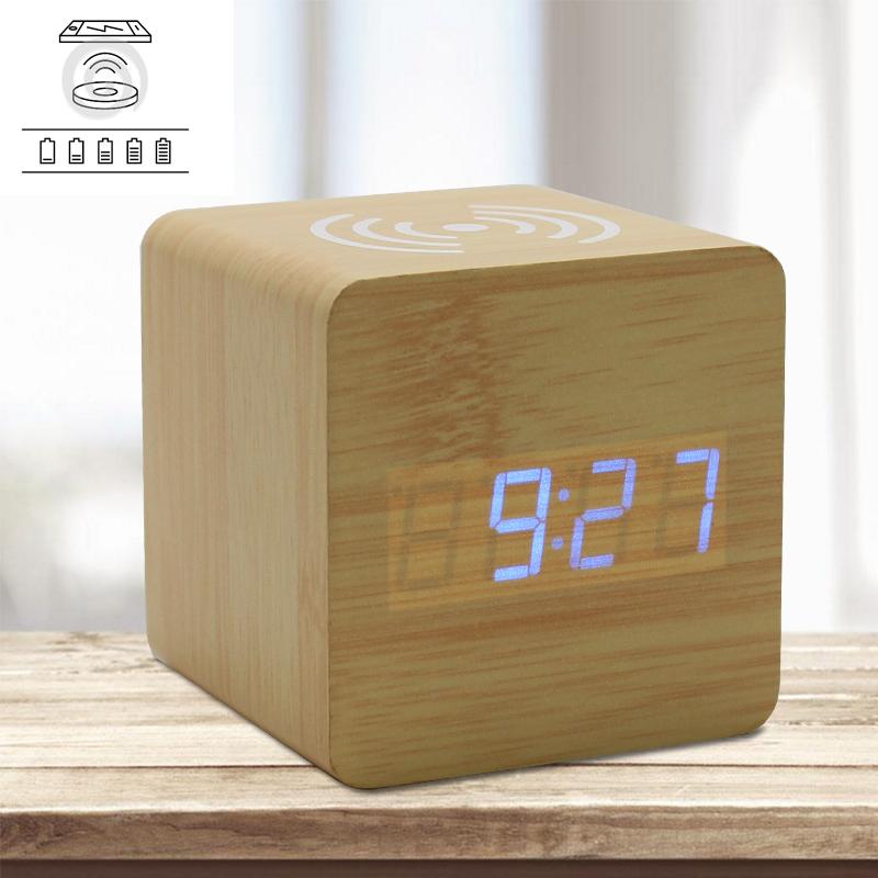 Mini Creative Charming High-Tech LED Wooden QI Wireless Charging Alarm Clock