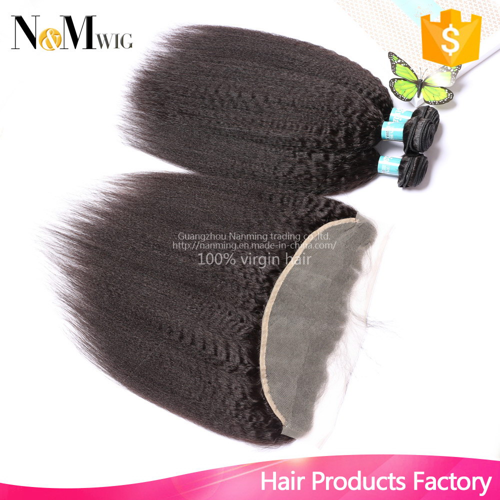 Kinky Straight Brazilian Virgin Hair With Closure,13x4 Ear To Ear Lace Frontal Closure With Bundles,New Kinky Straight Hair