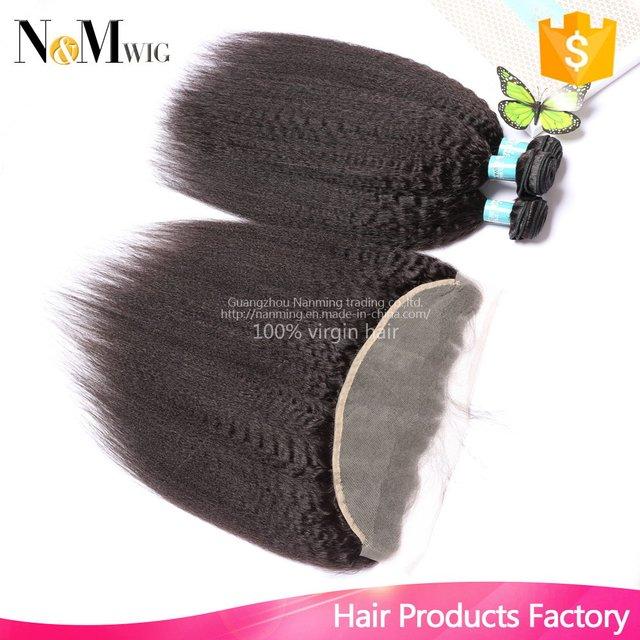 Virgin Hair Vendors Kinky Straight Brazilian Human Hair Bundles With Closure,13x4 Ear To Ear Lace Frontal Closure With Bundles