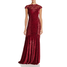 Latest Design Formal Red Long Sleeve Velvet Evening Party Wear Gown