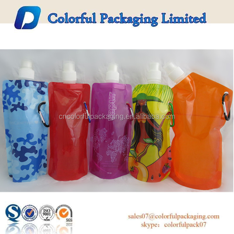 Stand up spout pouch with metal handle hole for energy drinking in outside activities