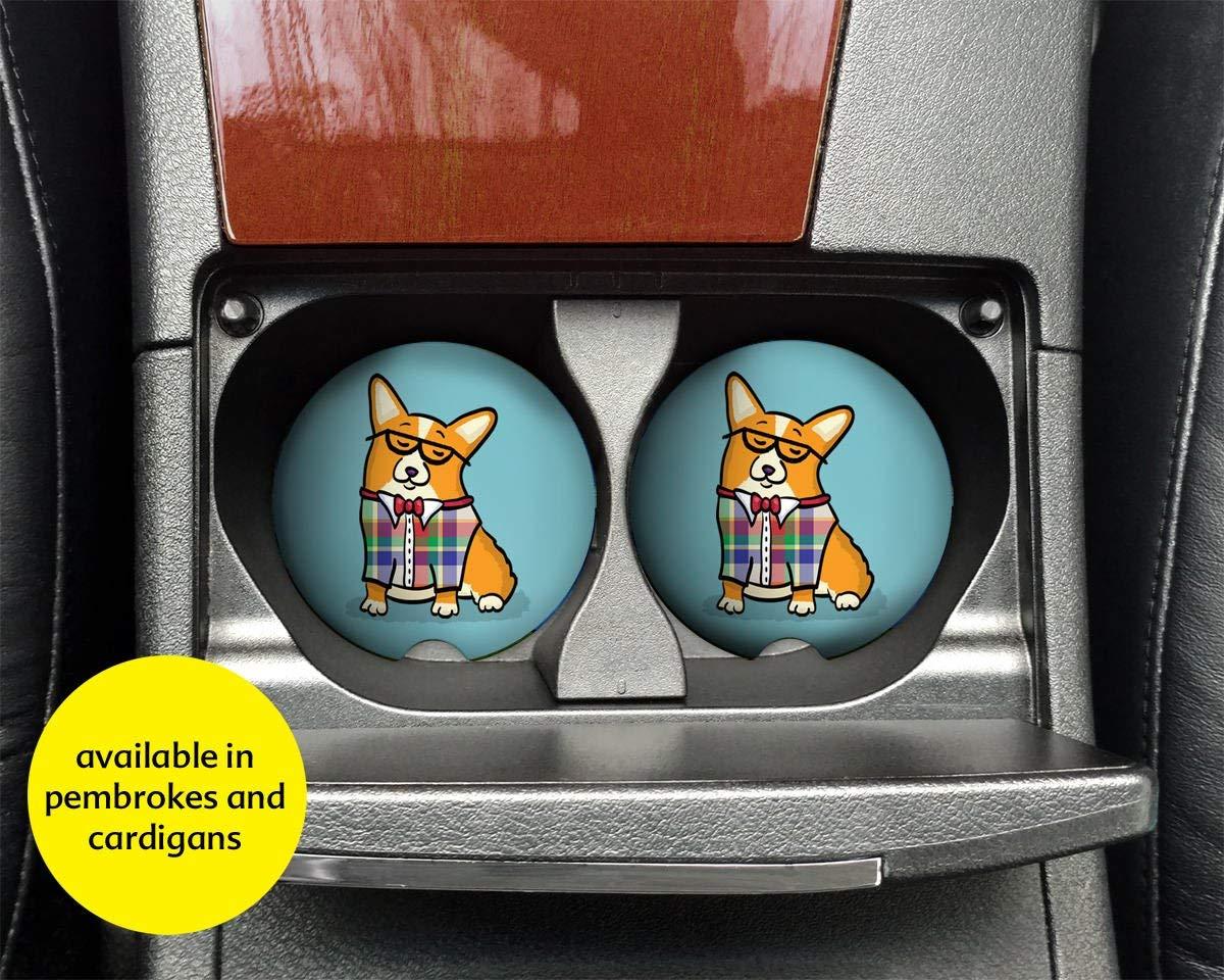 Corgi Car Coasters - Set of 2 Corgi Sandstone Car Coasters - Unique Corgi Gift - Pembroke and Cardigan Corgis - Corgeek