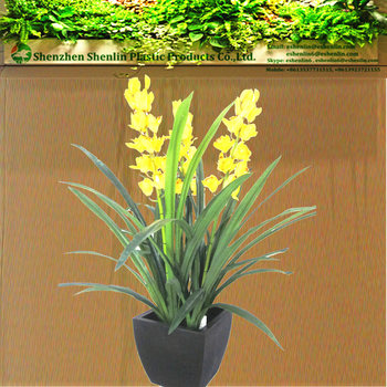 real looking fake potted silk green blue yellow orchid tissue