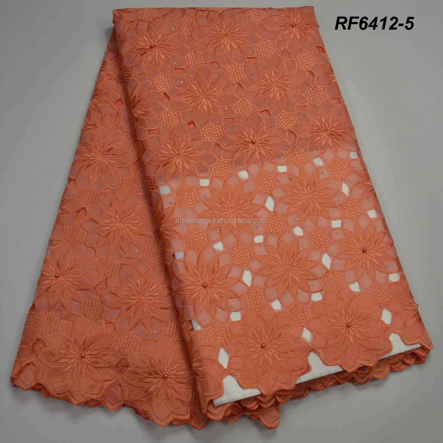 Embroidery high material textile swiss voile <strong>orange</strong> with beaded lace