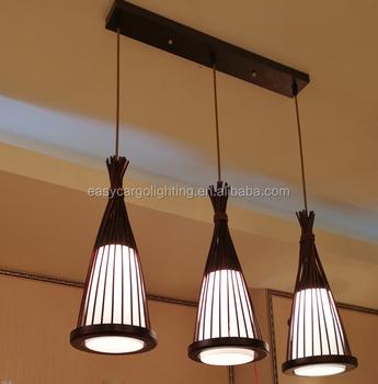 Brown Wood Color Pendant Light Bar Counter Coffee 0781 3p