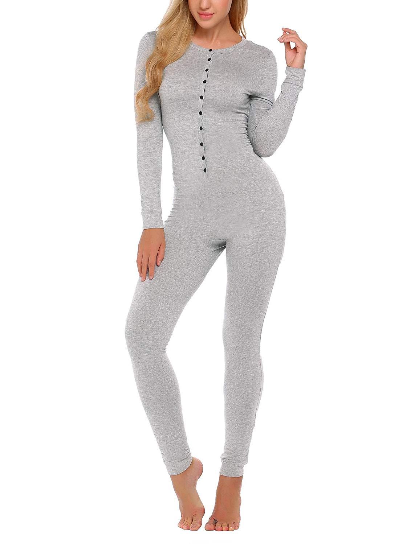 73d6537c4 Get Quotations · etuoji Womens Long Sleeve Onesie Union Suit Thermal  Underwear Solid Slim Supersoft Sleepwear Pajama Set