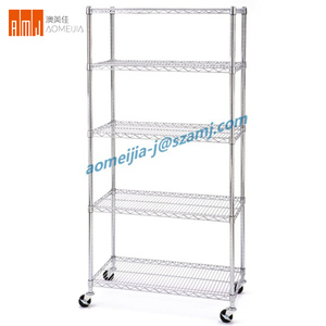 Alibaba Manufacturer 5 Layers silver chrome wire trolley