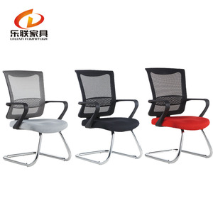 Chrome tube office seating no wheels chairs mesh visitor chair