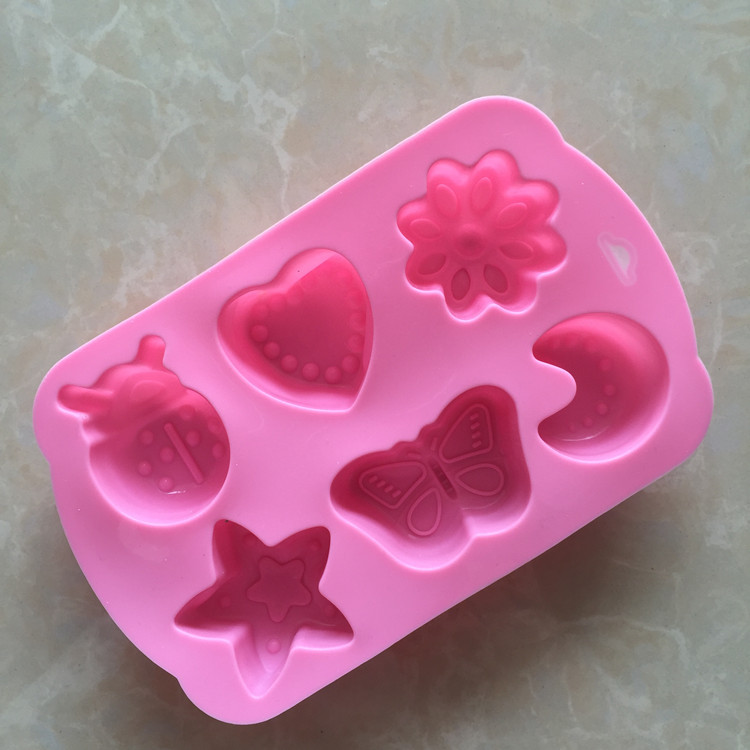 Amazon hot custom FDA pink 6 cavities insect star moon cake mold heart mold silicon funny cake mold silicone China factory price