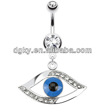 14G Stainless Steel Egyptian Eye Navel Belly Button Jewelry