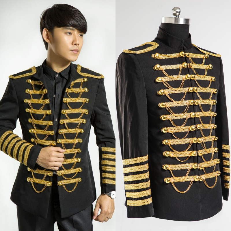 Men dress in black suits and gold embroidery wedding suits ...