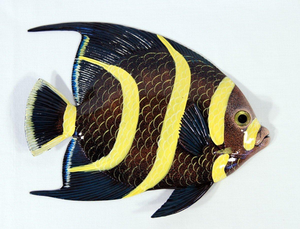 Buy Handpainted Tropical Fish Replica Wall Mount Decor Plaque Black ...