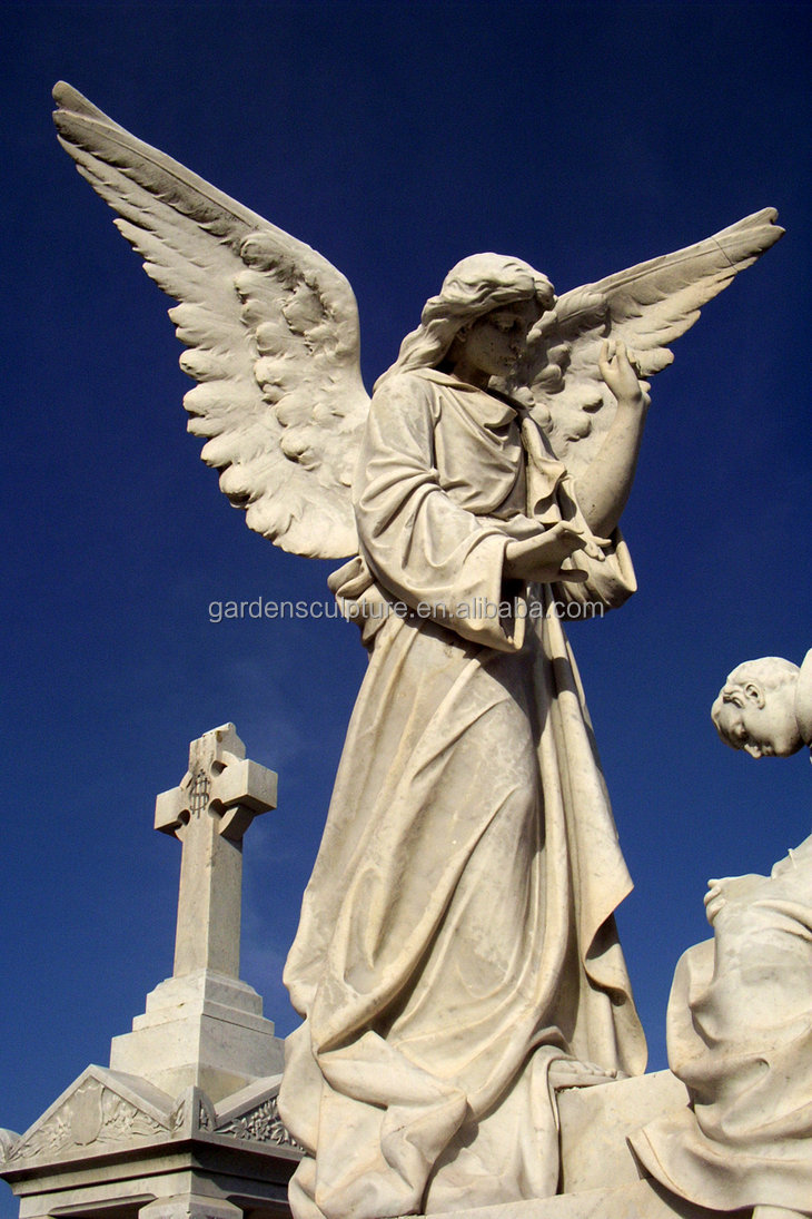 High quality European style custom outdoor handmade marble large angel statue
