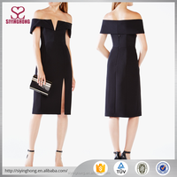 2017 new arrivals sexy off the shoulder midi dress with split front for career ladies