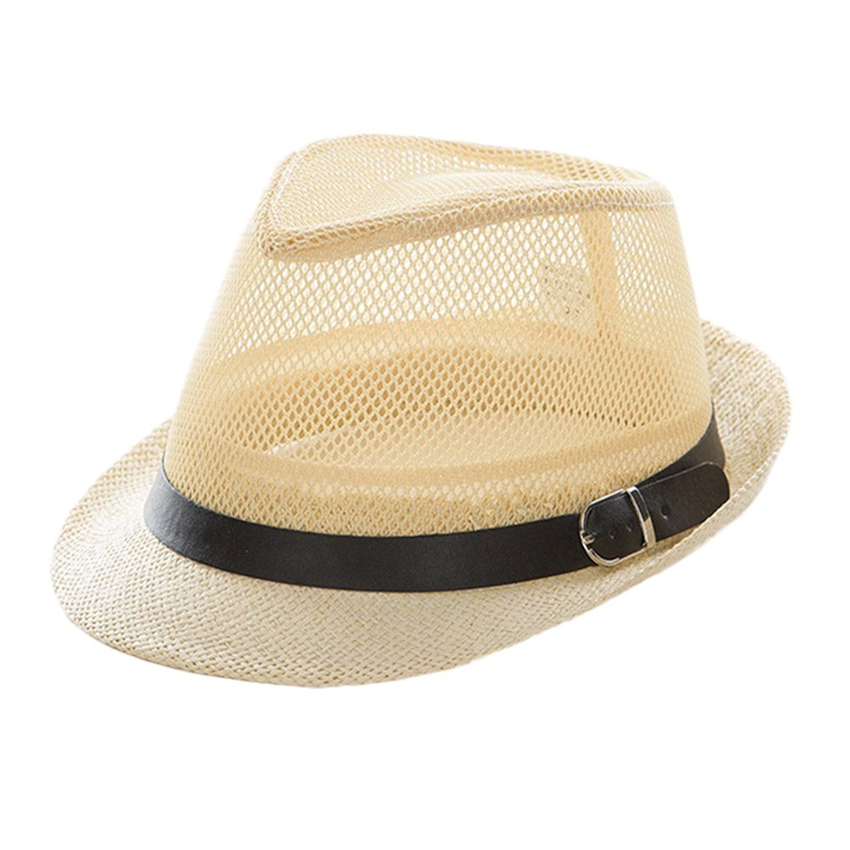 02c94e359aa Get Quotations · 4URNEED Womens Mens Summer Hats Trilby Fedoras Hats Beach  Sun Hat Straw Panama Hat
