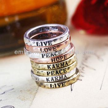Fashion Vintage Peace Love Hope Words/letter Set Finger Ring - Buy Letter  Finger Ring,Four Finger Ring,Vintage Finger Ring Product on Alibaba com