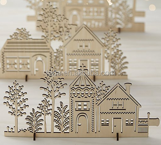 Laser cut Landscape wood Christmas villages