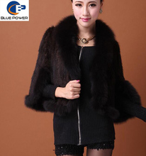 Fashion Design One Size Real Knitted Mink Fur Women Shawl with Fox Fur Trimming