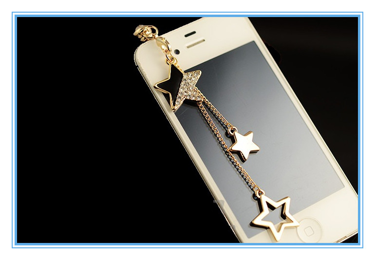 Wholesale elegant women star shaped mobile phone anti dust plug