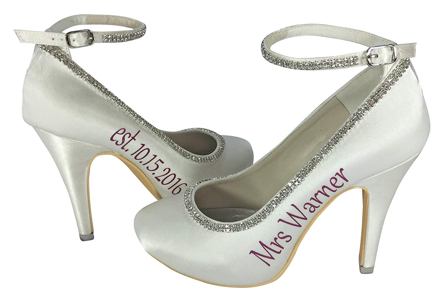 ccf7be3ca7316e Get Quotations · Handmade Ivory Bridal Heels with Hot Pink Rhinestone Ankle  Strap