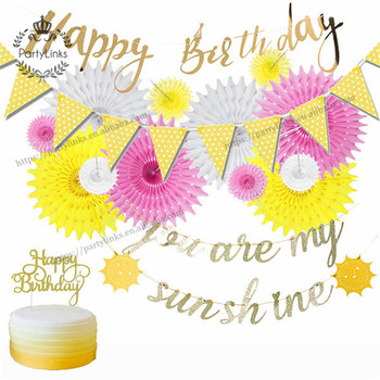 Sunshine Theme Boys Girls Birthday Party Decorations Glitter Gold You Are My Sunshine Banner Happy Birthday Cake Topper Fans