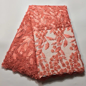 Wholesale beaded tulle lace fabric Peach embroidered net lace fabric 3D french lace fabric