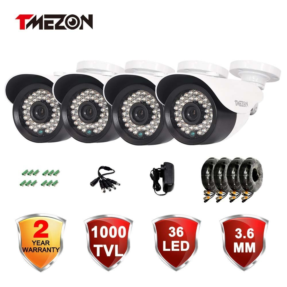 "TMEZON 4 Pack 1/3"" Cctv Security Camera 1000TVL 960H Day Night Vision Had IR-Cut Home Security Camera Indoor/Outdoor Weatherproof 36IR Infrared Lens Surveillance Camera Kits"