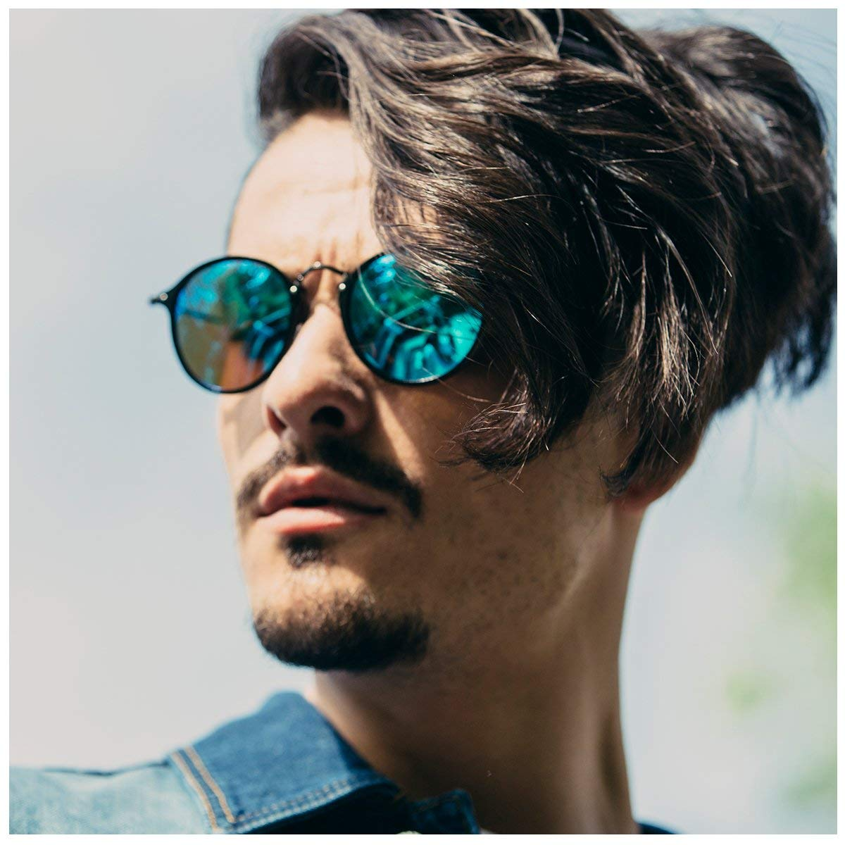 Round Retro Polaroid sunglasses Driving Fishing Shopping Polarized Glasses Mens Steampunk Metal Frame, UV400 protection