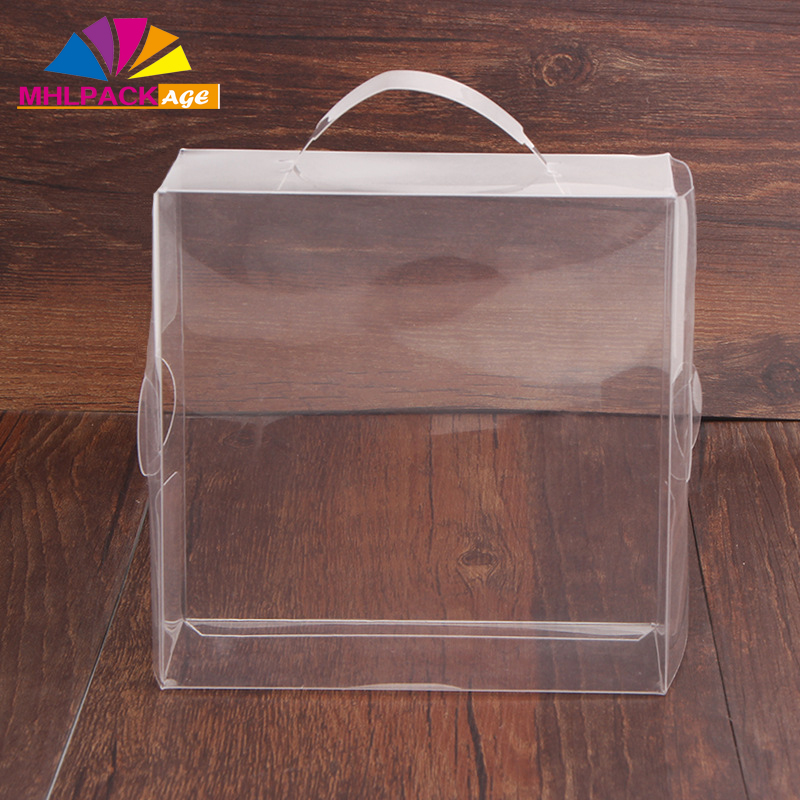 China factory sale custom logo template pvc handle clear plastic display gift box