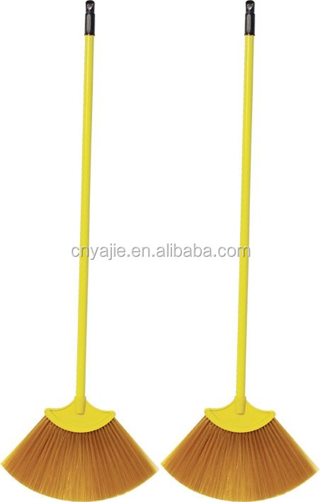 yellow plastic broom with telescopic handle