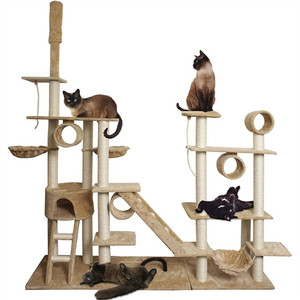 Large Pet Accessories Ultimate Giant Cat Tree Castle Wooden Outdoor Cat Climbing Tree House