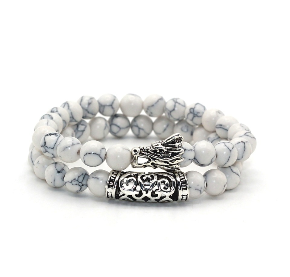 Men Buddha Bead Bracelet With White Turquoise Natural Marble Stone Dragon Head Beaded Bracelets