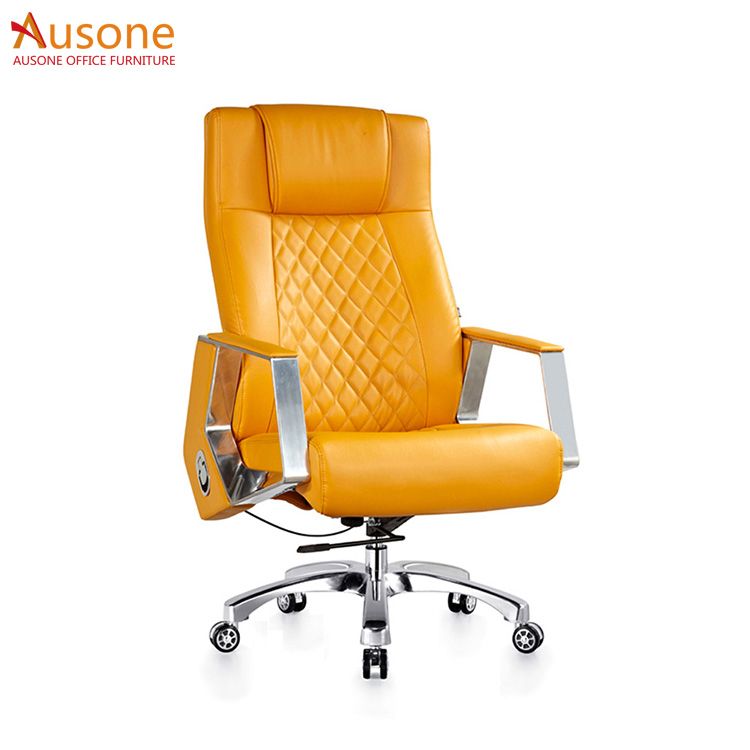 Aluminum alloy foot stand Ergonomic fancy office leather chair