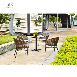 In stock rattan / wicker dining chair with steel table furniture sets for bar and restaurant