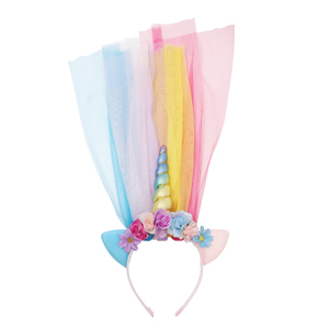 Amazon Wholesale New Design Birthday Party Kids Girl Colorful Flower Rainbow Yarn Glitter Ear Unicorn Horn Headband For Teenager