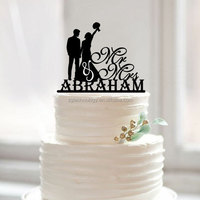 black color mr mrs with last name music cake topper decorative bride and groom wedding cake topper