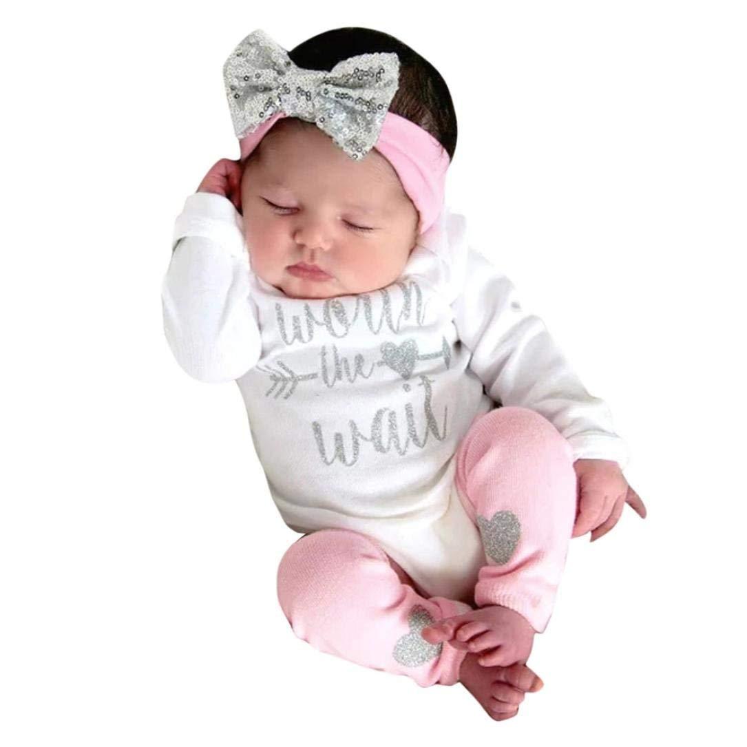 Hunzed Newborn Kids Clothes Sets Baby Girls Long Sleeves Flowers Print Romper+Headband