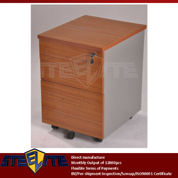 Under Table Brown Plywood Steel Movable 3 Drawer Cabinet / Antique Wooden  Metal Storage 3