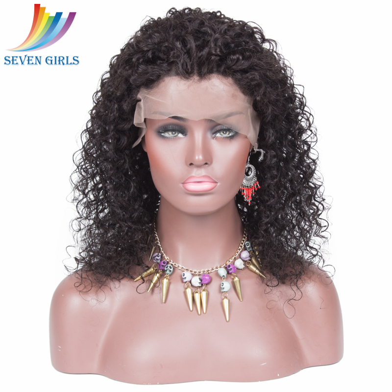 Natural color Curly 150% density Indian human hair lace front wigs with natural hairline фото