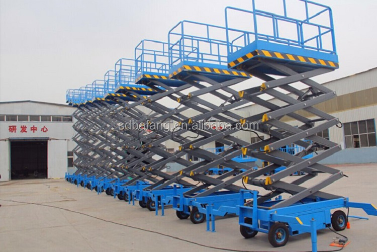 High altitude mobile shear fork lift platform
