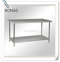 Double kitchen stainless steel worktable with under shelf, fashion designer work table