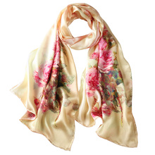 Luxury printed flower large ladies European fashion turkey elegant multi color pure real satin silk turkey scarf