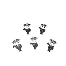 Latest Designed Creative Black Color 16x25mm Policeman Shaped Wooden Button