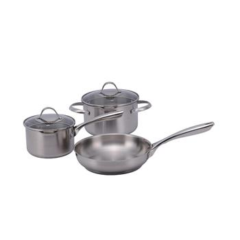 5pcs stainless steel cookware set saucepan casserole and frypan dishwash safe