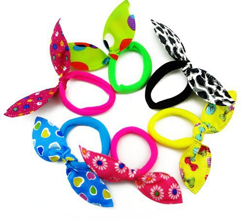 12pcs Wholesale New Baby Girl Hair band dot bowknot heart flower leopard hair rope Accessories for