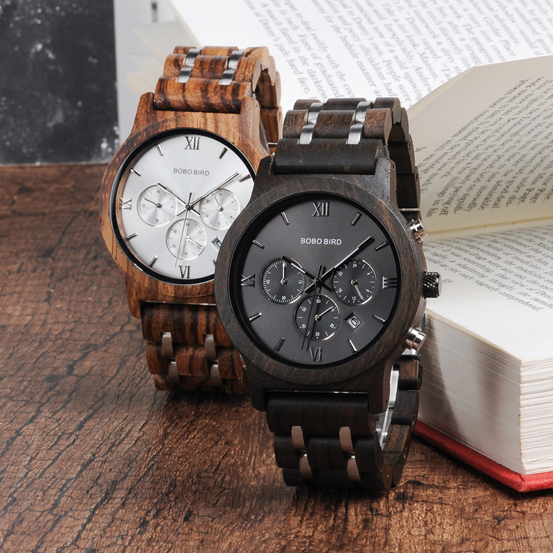 BOBO BIRD dropshipping watches men Wooden Bamboo Quartz wood Wrist Watch stopwatch saat erkek relojes