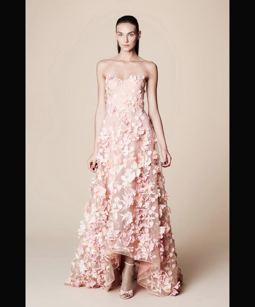 2017 Light Pink Flower Prom Gown Dresses Evening Dress Party Wear
