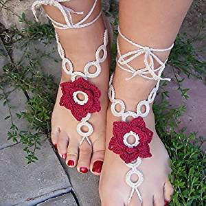 Crochet Barefoot Sandals,Beach Pool,Nude Shoes,Foot Jewelry,Footless Sandles,Beach Wedding Jewelry,Yoga Chain,Anklet, Wedding Shoes, Beach Wedding, Summer Shoes, One Size Fits All (ivory and red)