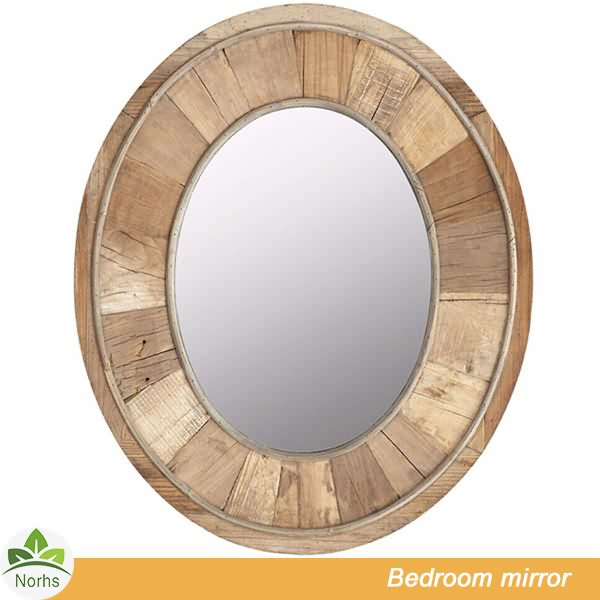 Norhs wall mount simplify rustic oval framing natural wood mirror with wooden framed for home decorative