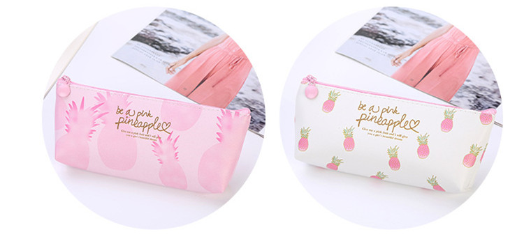New pu fruit pink pineapple student pencil case strawberry print school pencil cases for girl stationery canvas pencil bag